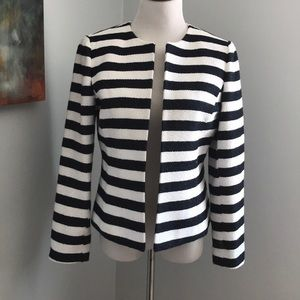 Tahari Deep Navy and White Striped Blazer
